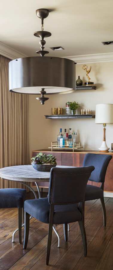 casual masculine dining room and bar