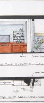 interior design elevation art deco hotel suite with deck