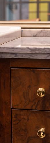 hair washing station detail, wood burl cabinets, vintage barbershop