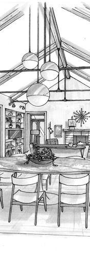 Interior perspective illustration for Tim Barber Ltd.