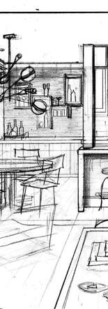 masculine penthouse interior design perspective sketch