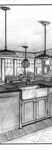 interior design interior architecture design perspective sketch illustration kitchen