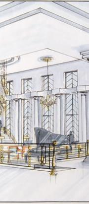 art deco hotel interior design perspective sketch illustration