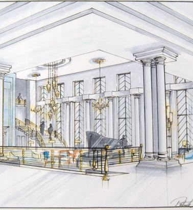 art deco hotel interior design perspective sketch illustration