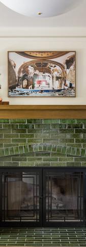craftsman glazed brick fireplace