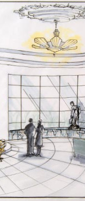 art deco style hotel lobby interior design and architecture perspective sketch