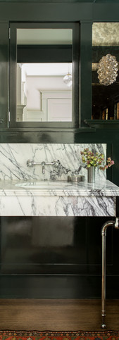 powder with custom marble console vanity
