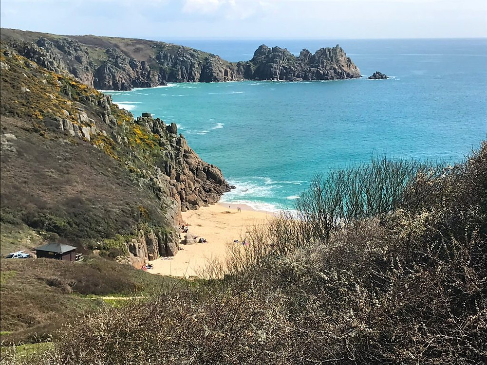 Circular-Walk from Porthcurno Beach Cafe, Porthcurno, Cornwall, UK. View Down Across Porthcurno Beach and Beyond