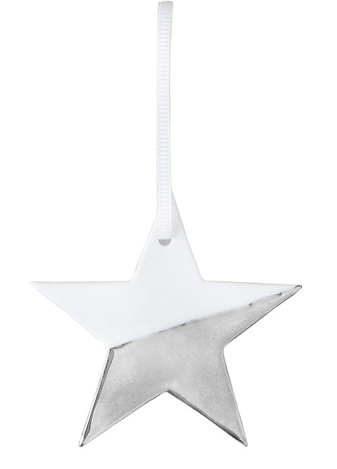 Porcelain Hanging Star Silver by Rader Design
