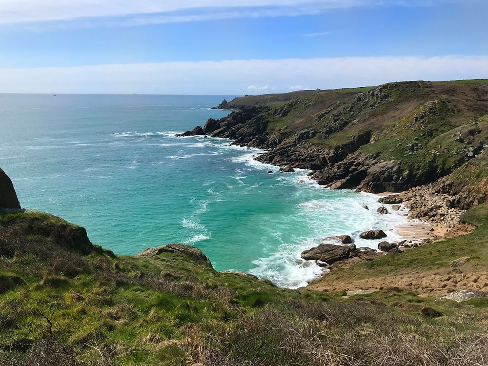 Circular-Walk from Porthcurno Beach Cafe, Porthcurno, Cornwall, UK. Looking Back from Pedn-men-an-mere.