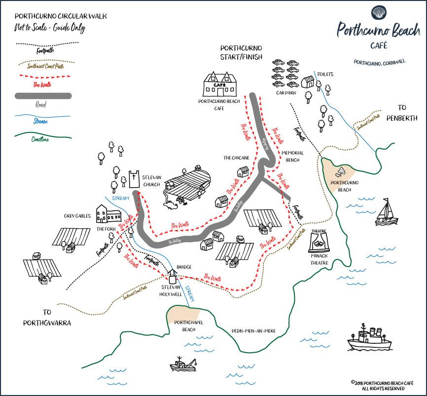 Circular-Walk from Porthcurno Beach Cafe, Porthcurno, Cornwall, UK