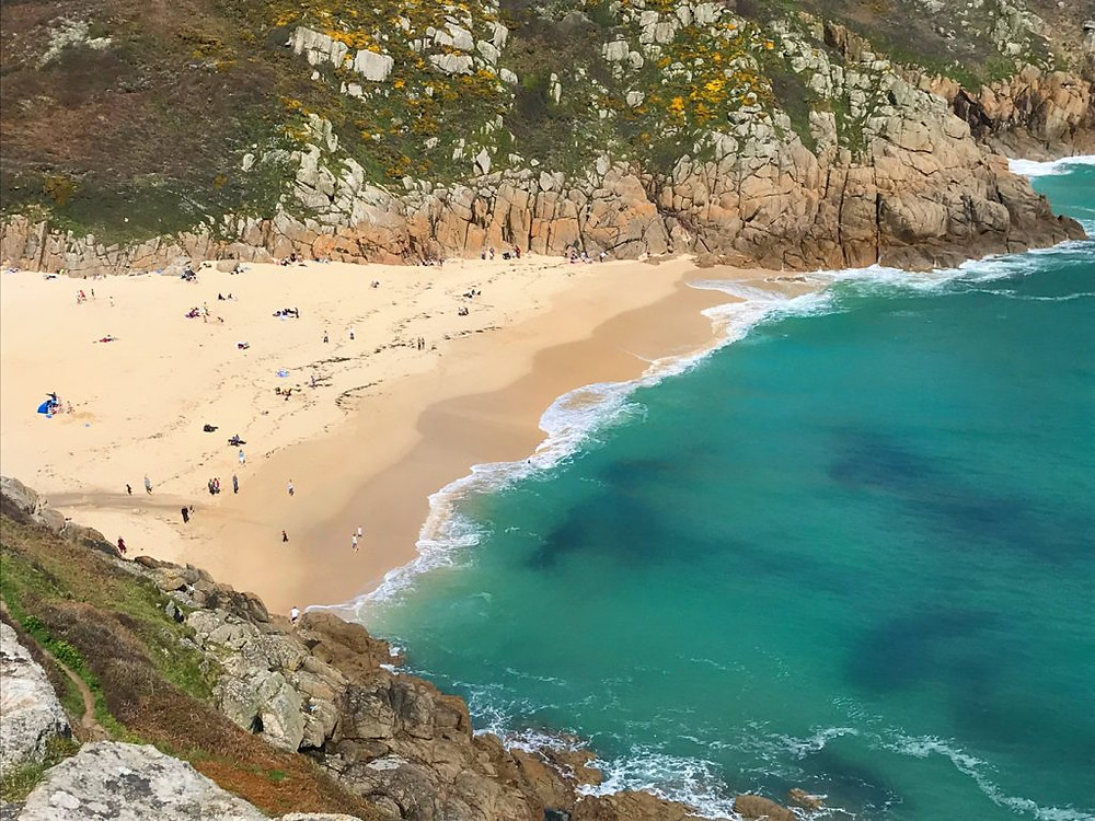 Circular-Walk from Porthcurno Beach Cafe, Porthcurno, Cornwall, UK. Beautiful Porthcurno Beach Down Below The Minack Theatre.