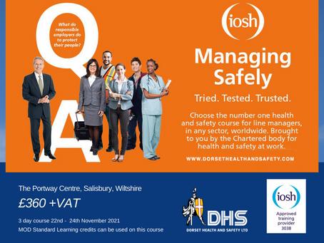 IOSH MANAGING SAFELY COURSE - Wiltshire - 22nd Nov