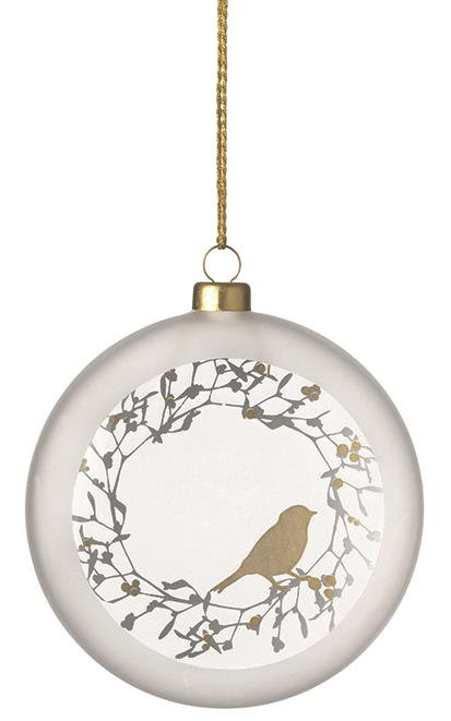 Frosted Glass Bauble Bird by Rader Design