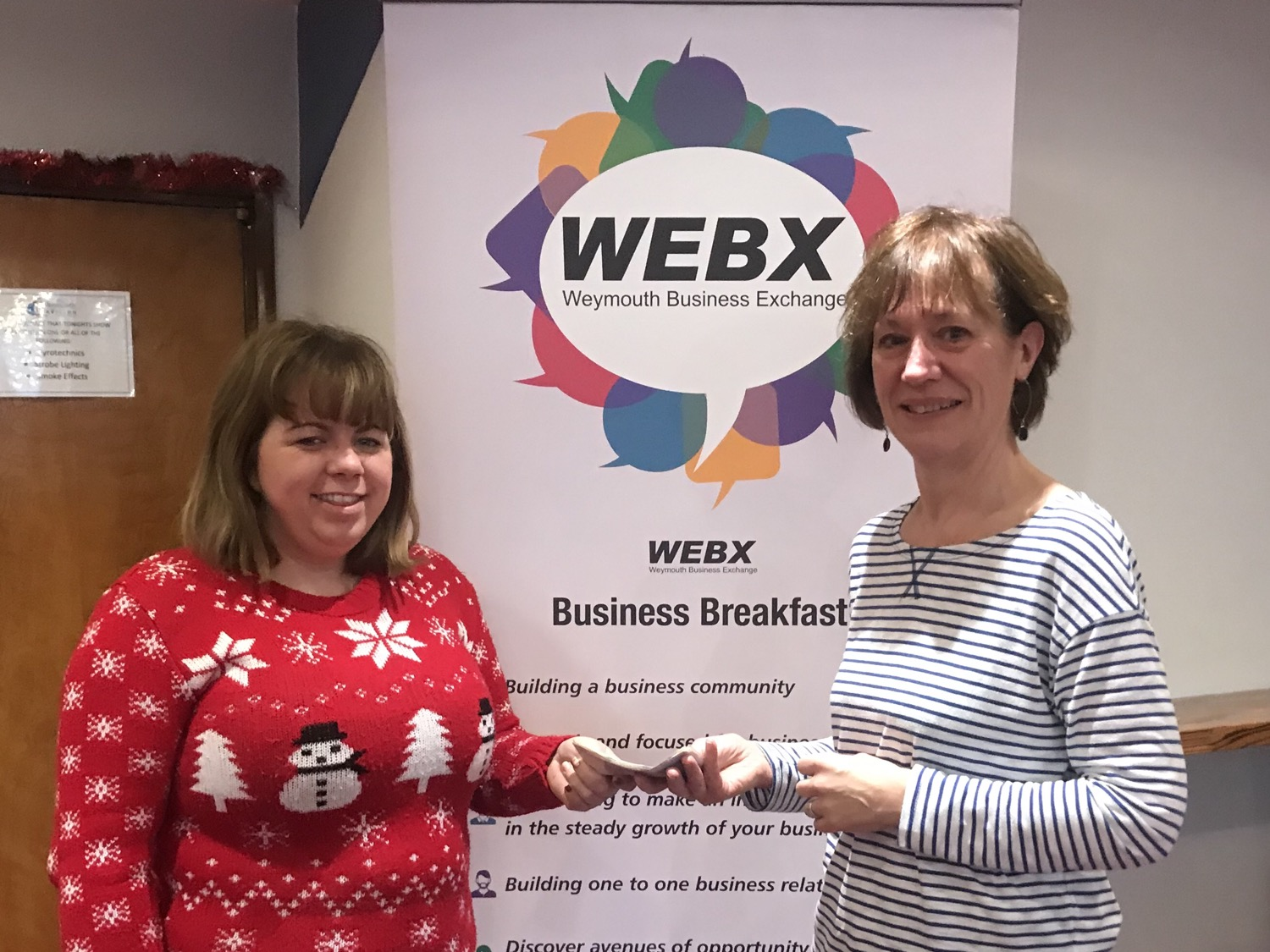£350 donation for Safe Sleep at WEBX Christmas networking