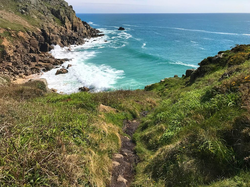 Circular-Walk from Porthcurno Beach Cafe, Porthcurno, Cornwall, UK. The Southwest Coast Path and Porthchapel Beach