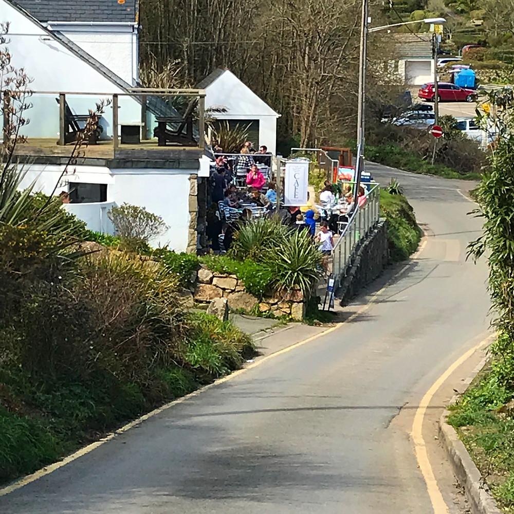 Circular-Walk from Porthcurno Beach Cafe, Porthcurno, Cornwall, UK. Welcome Sight - Porthcurno Beach Cafe