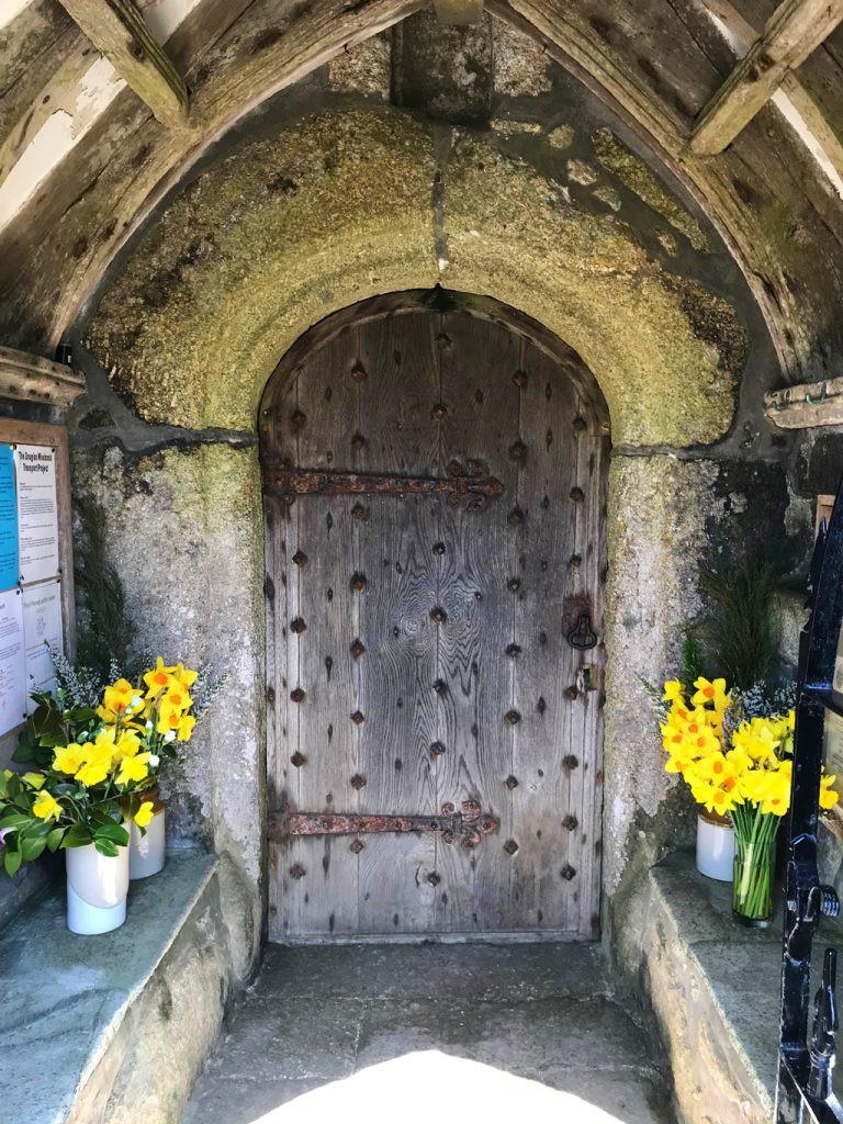 Circular-Walk from Porthcurno Beach Cafe, Porthcurno, Cornwall, UK. St Levan Church Door