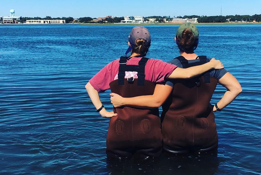 2 girls in a marsh