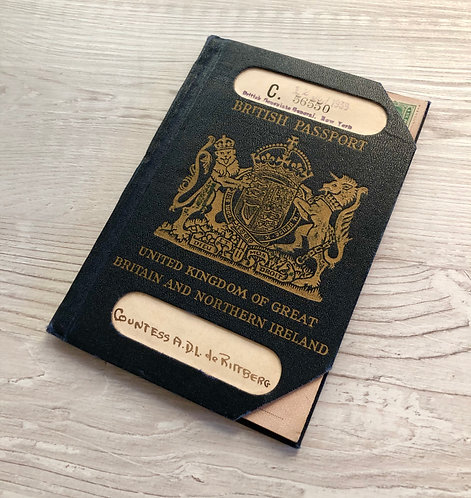 1939 British passport of Countess A.D.L de Rittberg issued at New York