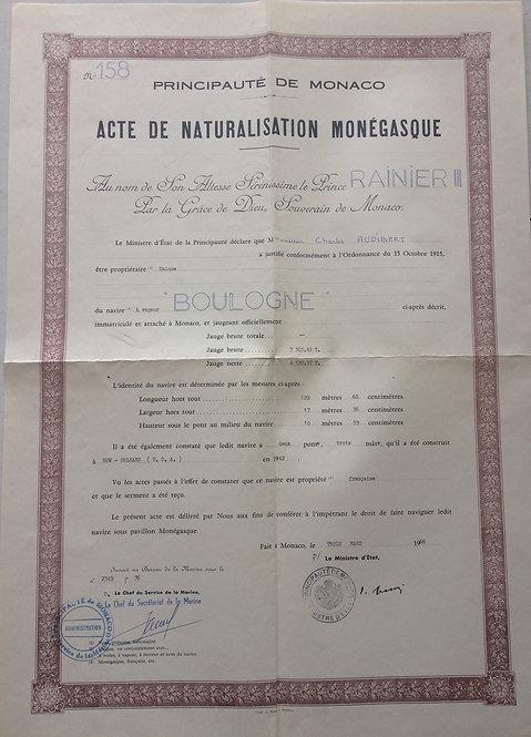 Principality of Monaco 1966 ship passport