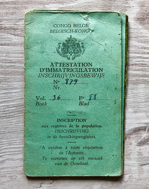 Belgian Congo 1957 ID Card