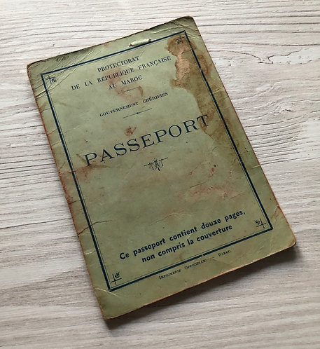 French Protectorate of Morocco 1946 passport Spanish French visas & revenues