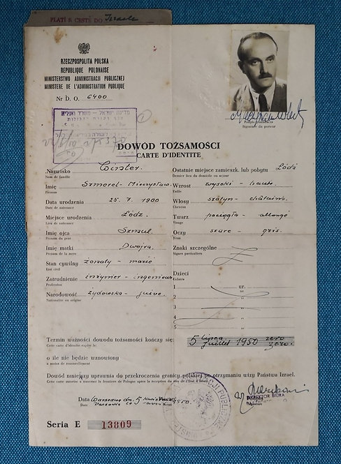 Post-WW2 Poland 1950 certificate of identity in lieu of passport for Jew settle