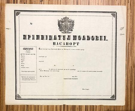 Principality of Moldavia 1850's blank specimen passport