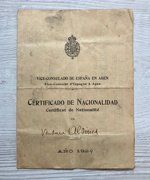Spain Nationality Certificate 1924 issued in France