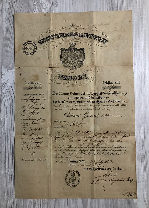 Principality of Hessen 1853 issued at Darmstadt