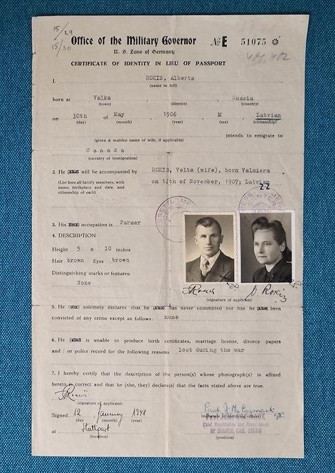 Post-WW2 Military US Zone of Germany IRO 1948 certificate of identity passport