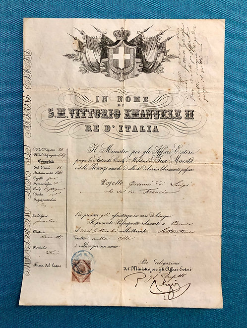 Italy 1871 issued for travel to France