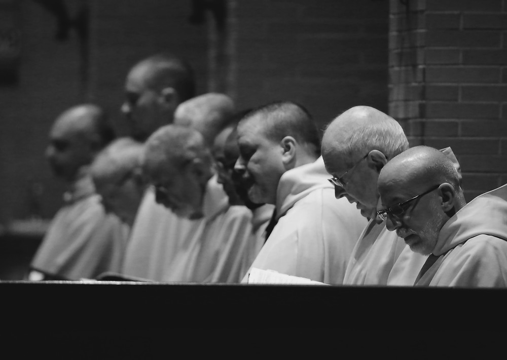 Monks at Spencer Abbey during Vespers