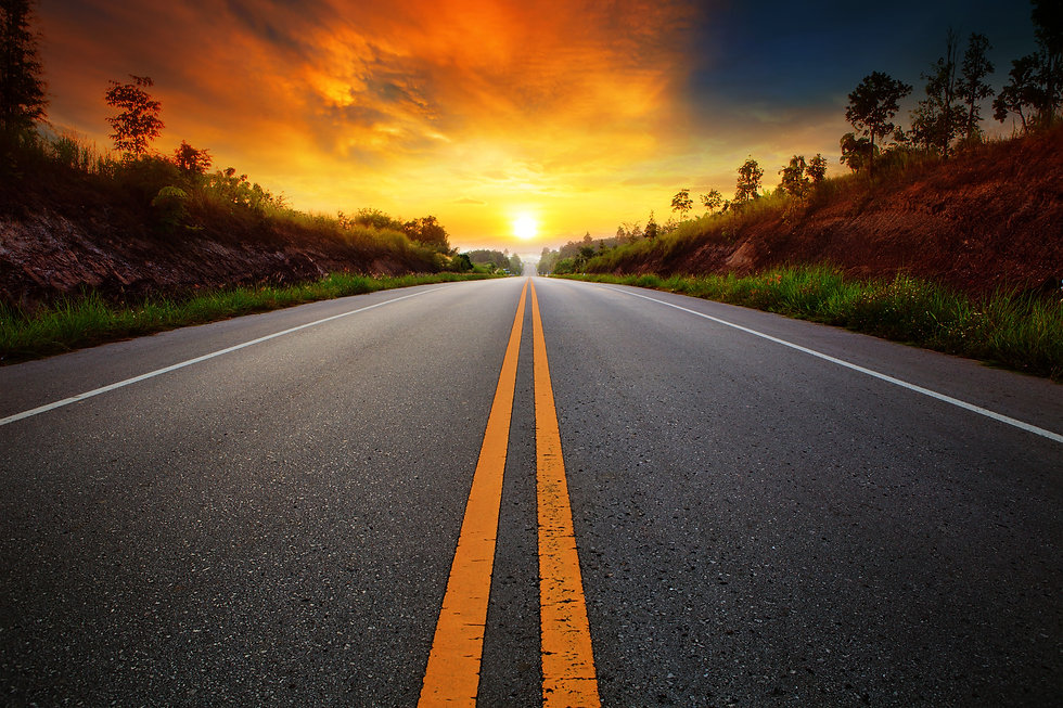 beautiful sun rising sky with asphalt hi