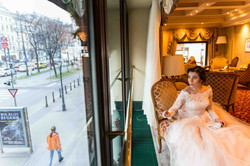 A bride is taking a moment