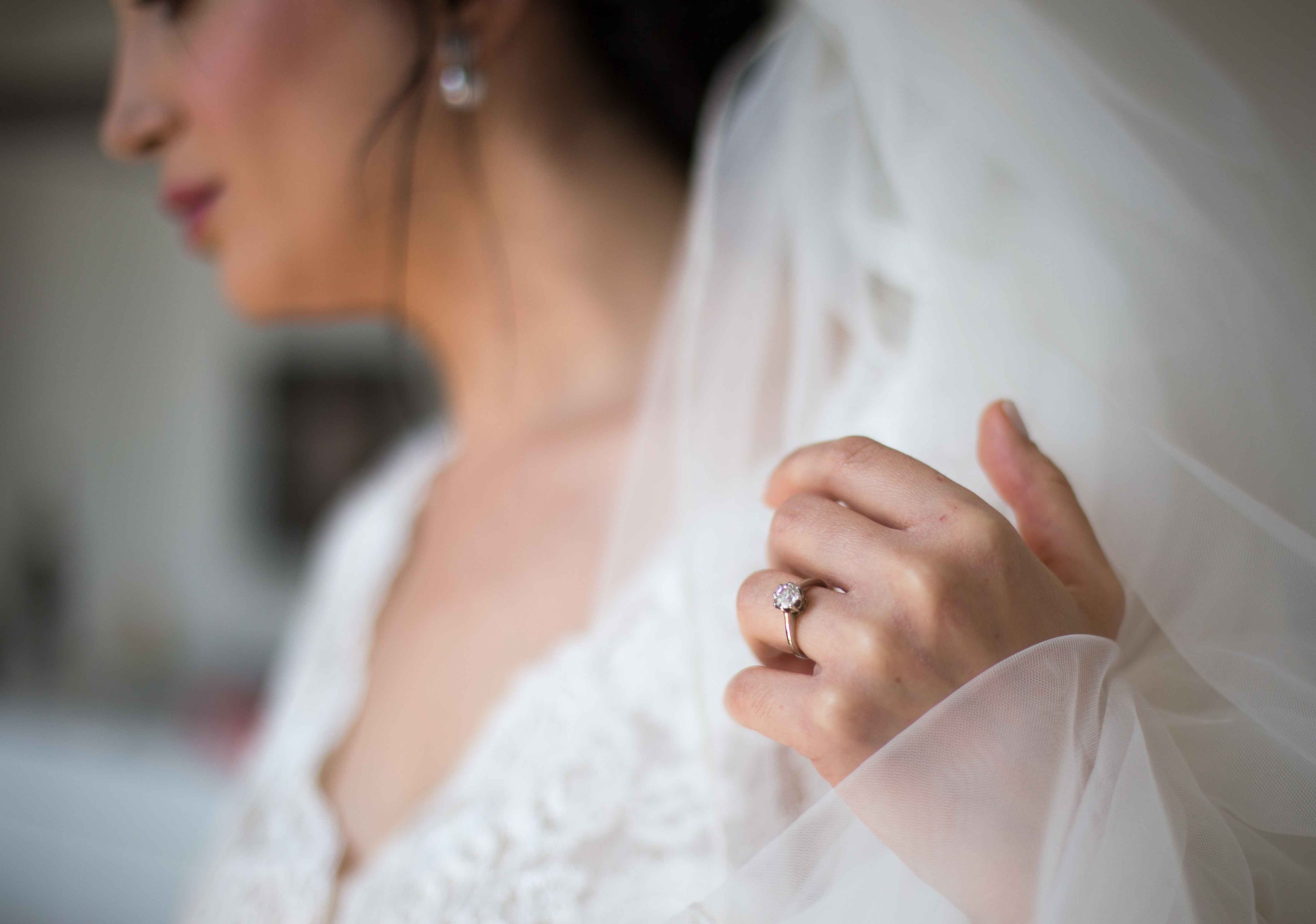 Bride wearing an engagement ring