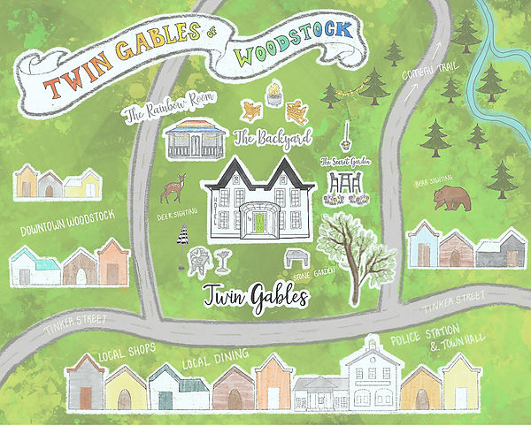 Illustrated Map of Twin Gables of Woodstock Boutique Hotel