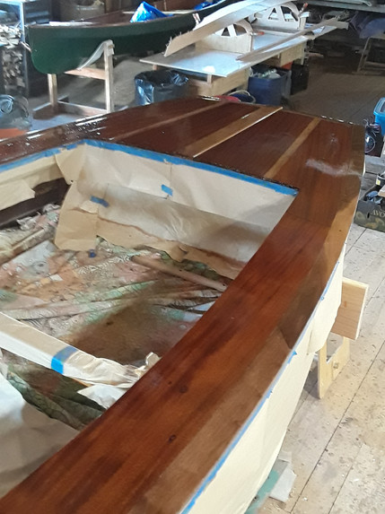 Two finish coats of varnish applied. 2 to 3 more coats to go.