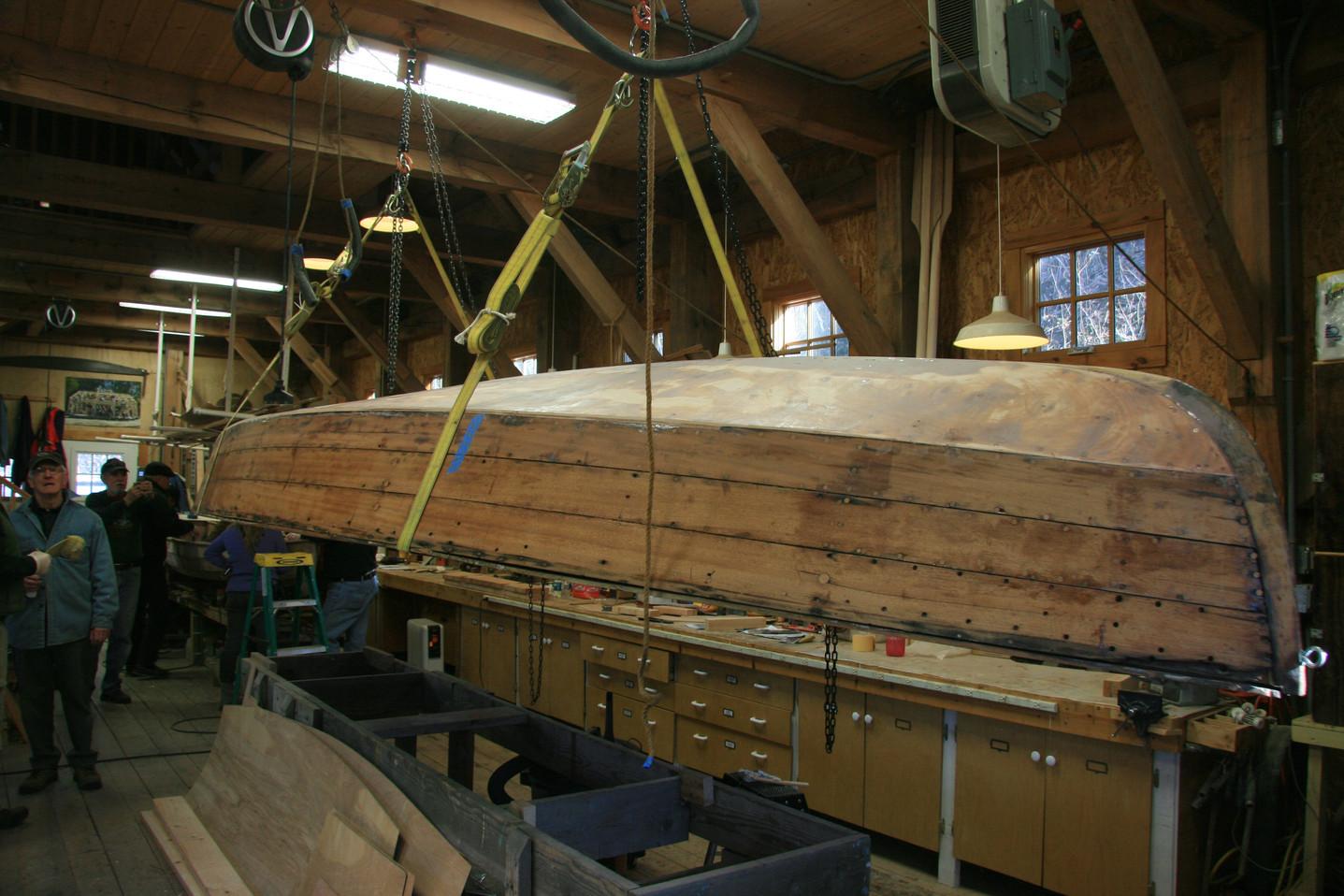 Flipping hull to start interior work