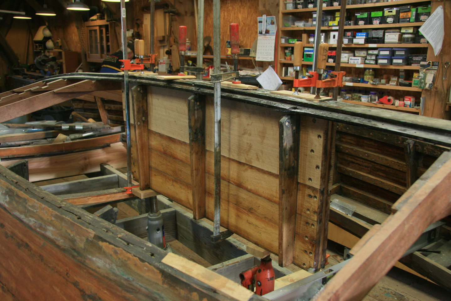 Centerboard trunk re-fastened to keel