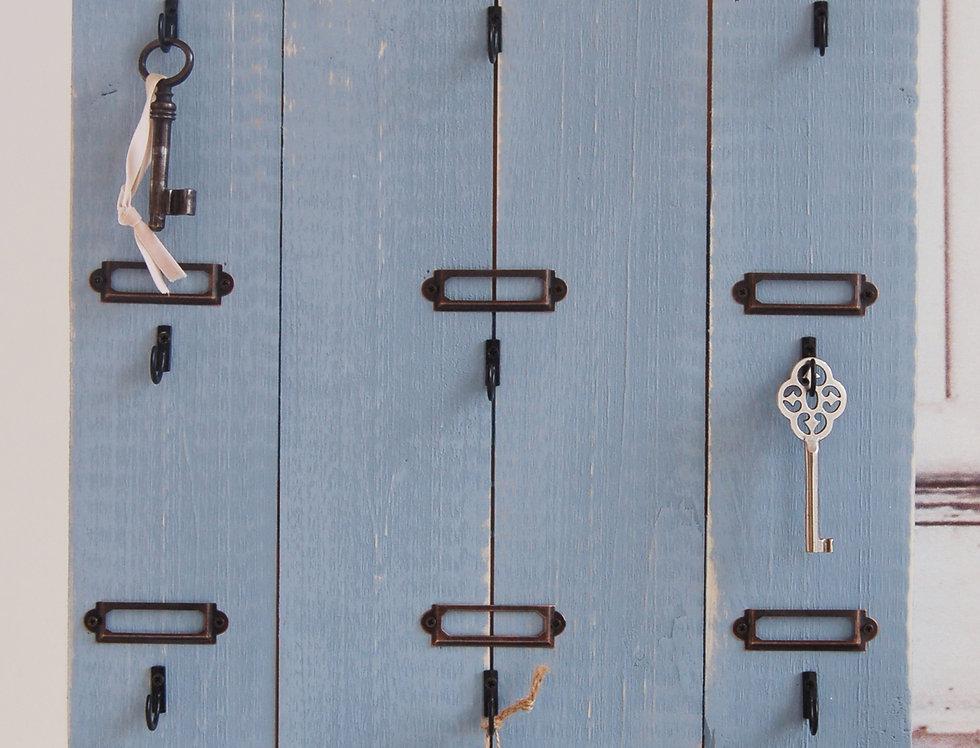 Landhaus Schlüsselbrett, Schlüsselkasten BEN Shabby antique chic in taubenblau,