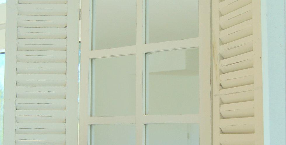 Landhaus Spiegel, Wandspiegel BILLUND mit Fensterläden im Shabby Chic