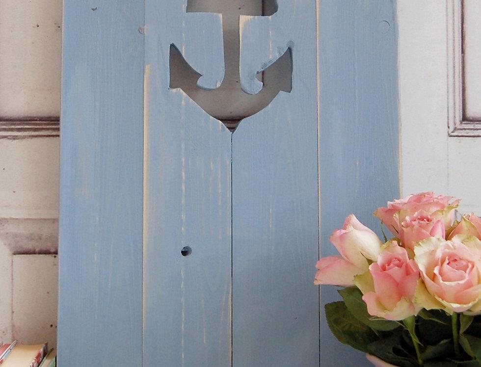Landhaus Fensterladen Anker in taubenblau