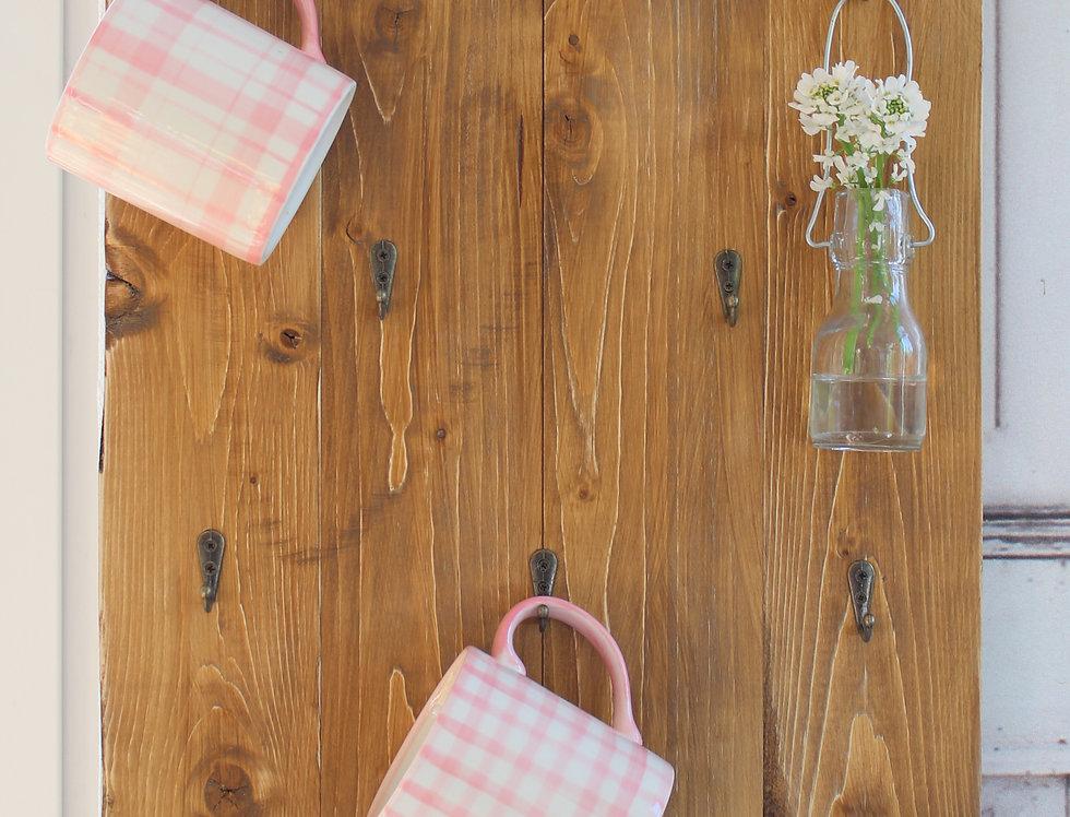 Landhaus Tassenregal Cups CARA Wandboard Tassenhalter Handgefertigt Shabby Chic