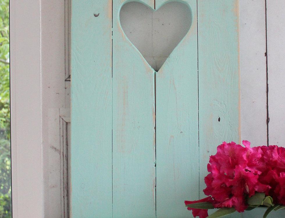 Landhaus Fensterladen AQUA mit Herz ,Shabby antique chic Handgefe