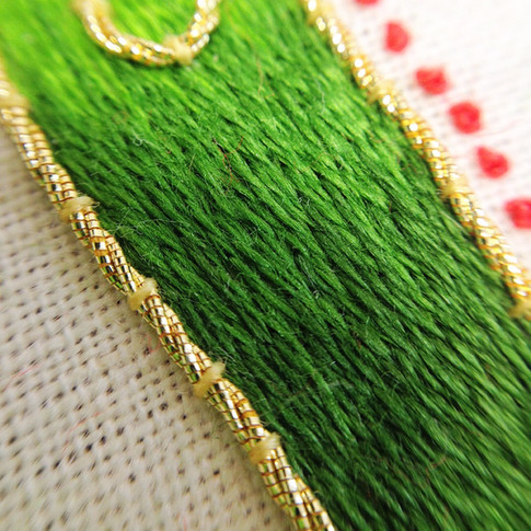 Close up silk shading embroidery