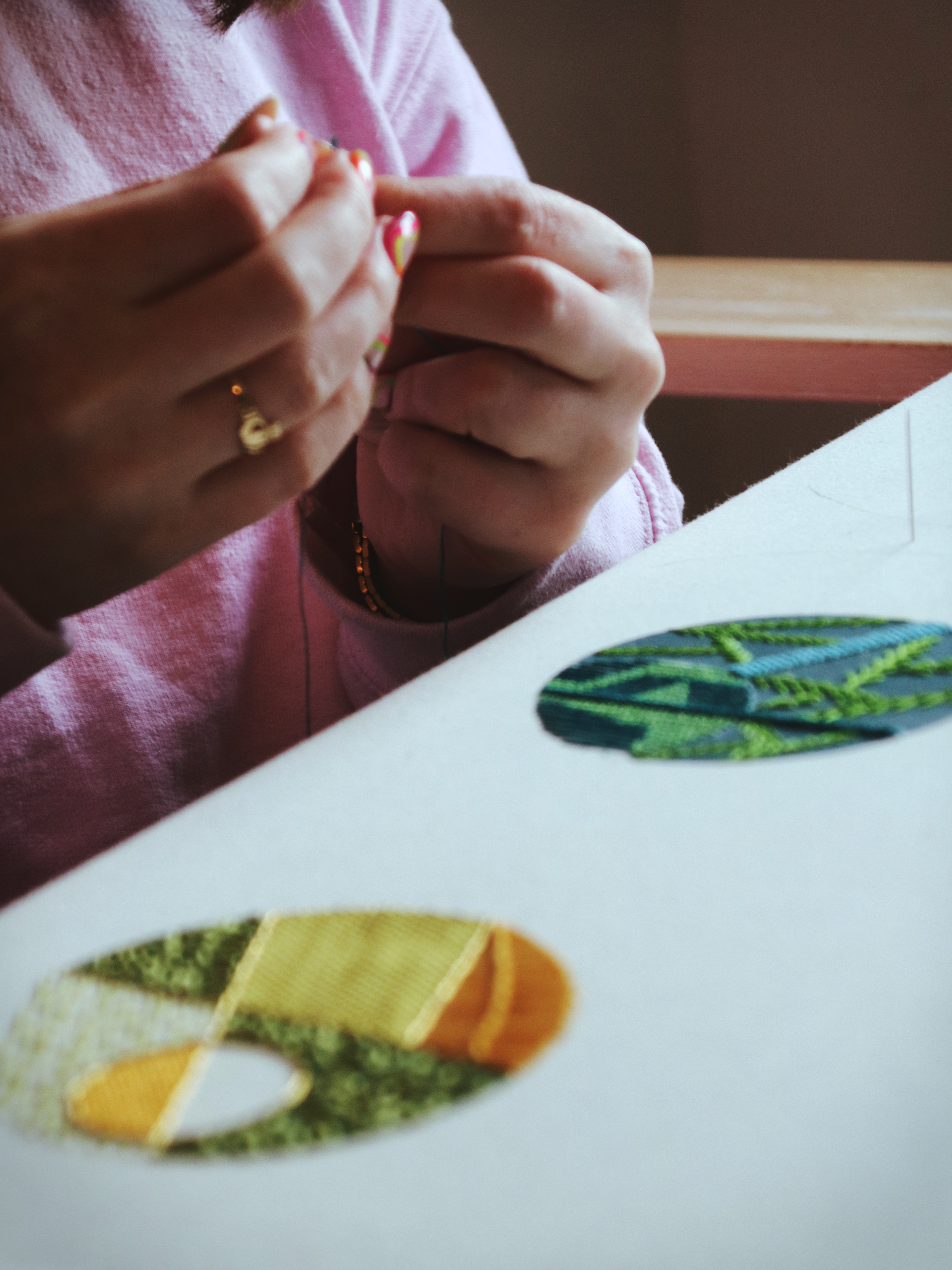 hands embroidering thread