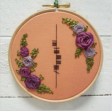 ogham embroidery with flowers mothers day gift