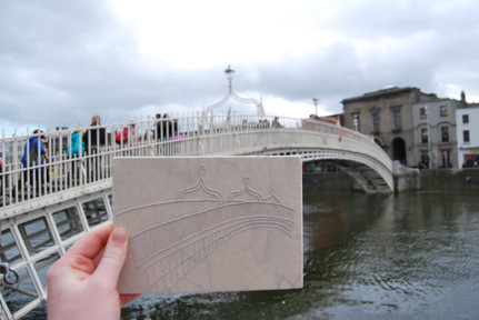 ha'penny bridge dublin embroidery